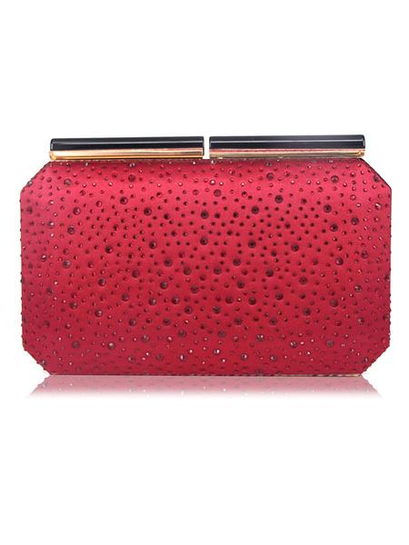 Milanoo Special Occasion Handbags Party Handbags Rhinestones Artwork Casual Detachable Strap Cross Body Evening Clutch Bags