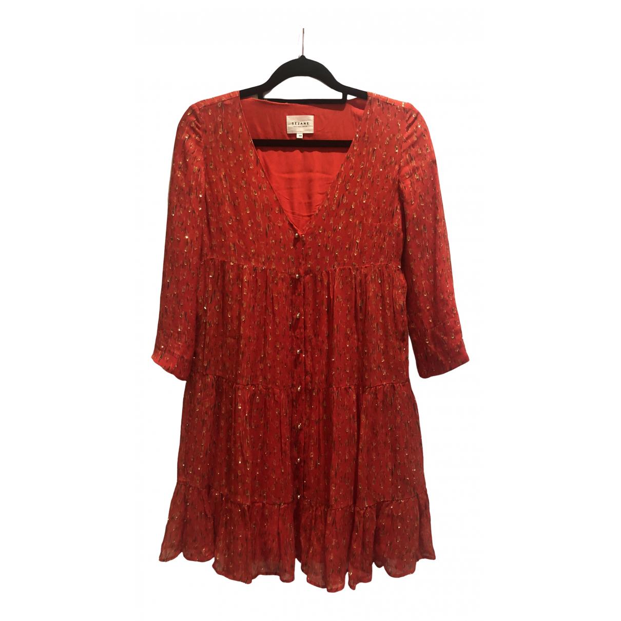 Sezane \N Kleid in  Rot Seide