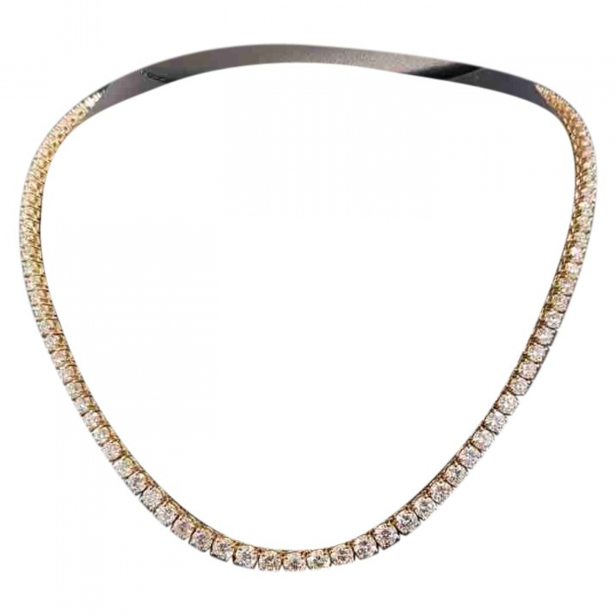 Non Signe / Unsigned Tennis Kette in  Gold Gelbgold