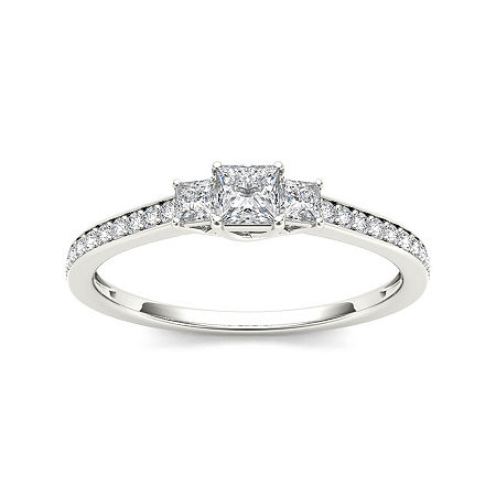 1/2 CT. T.W. Diamond 14K White Gold 3-Stone Engagement Ring, 6 1/2 , No Color Family