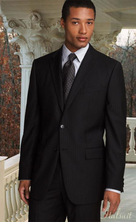 2 Button Pinstripe Color Black Mens Suit