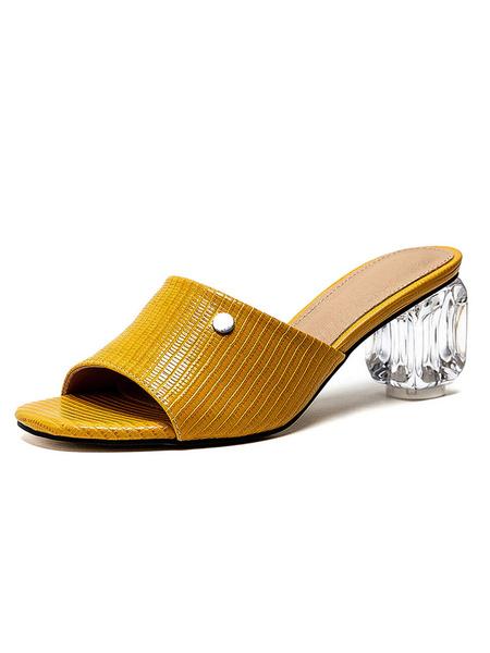 Milanoo Block Heel Mules Pantuflas de tacon transparente Zapatos de talla grande con punta abierta cuadrada