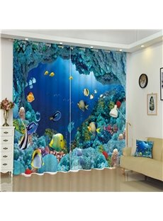 Wonderful and Happy Under Sea World 3D Decorative and Blackout Living Room Custom Curtain
