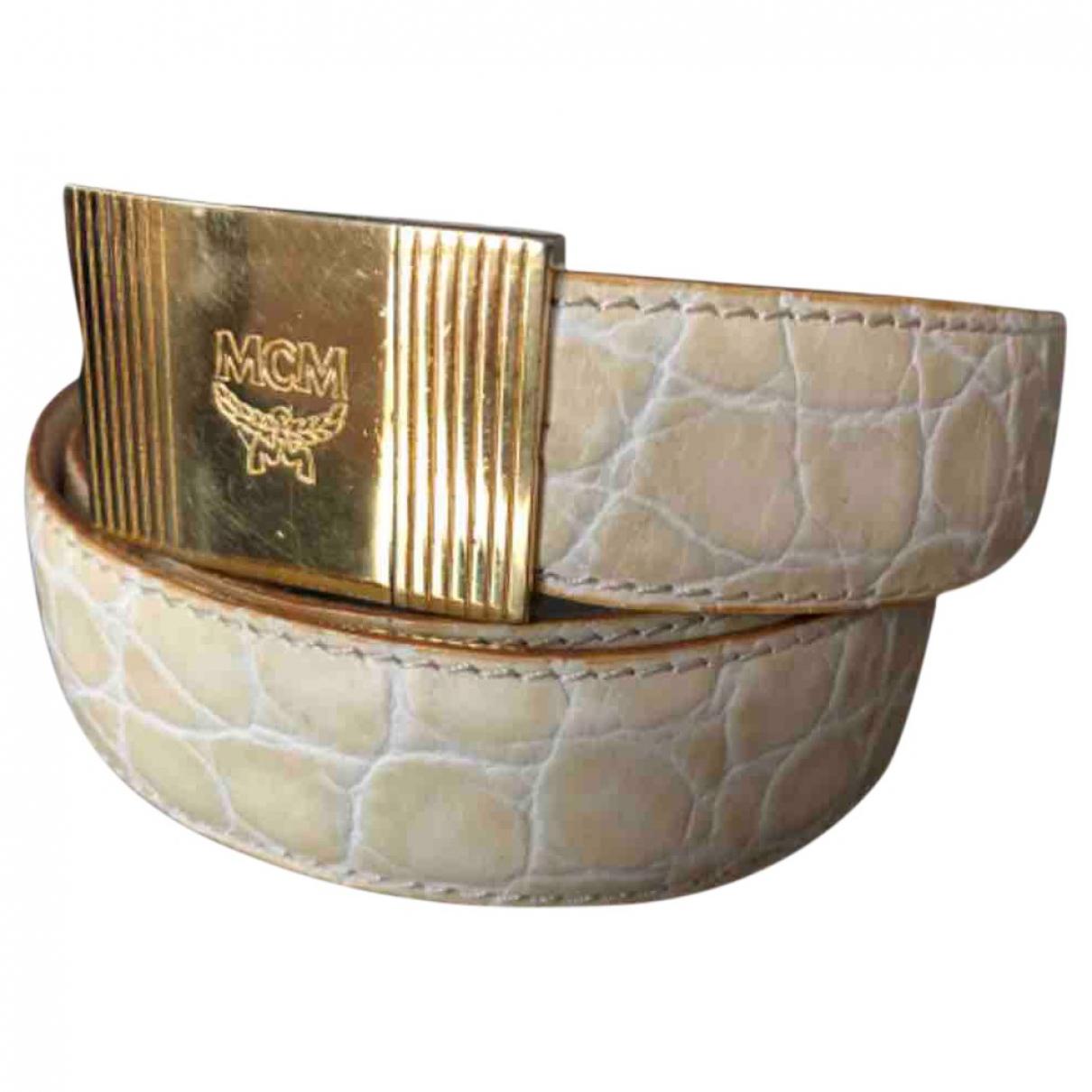Mcm \N Beige Leather belt for Women 95 cm