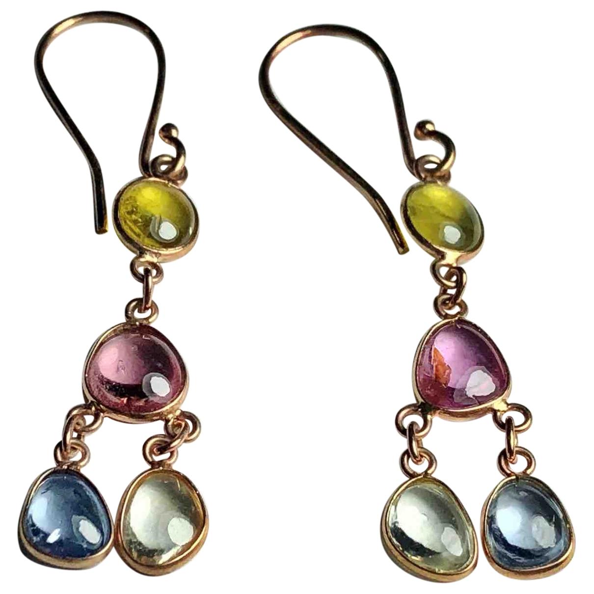 - Boucles doreilles Saphir pour femme en or rose - multicolore