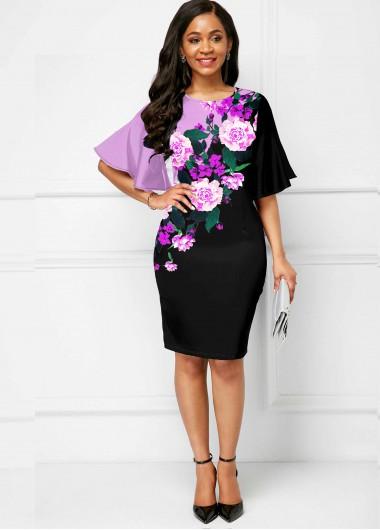 Wedding Guest Dress Floral Print Round Neck Flare Sleeve Dress - M