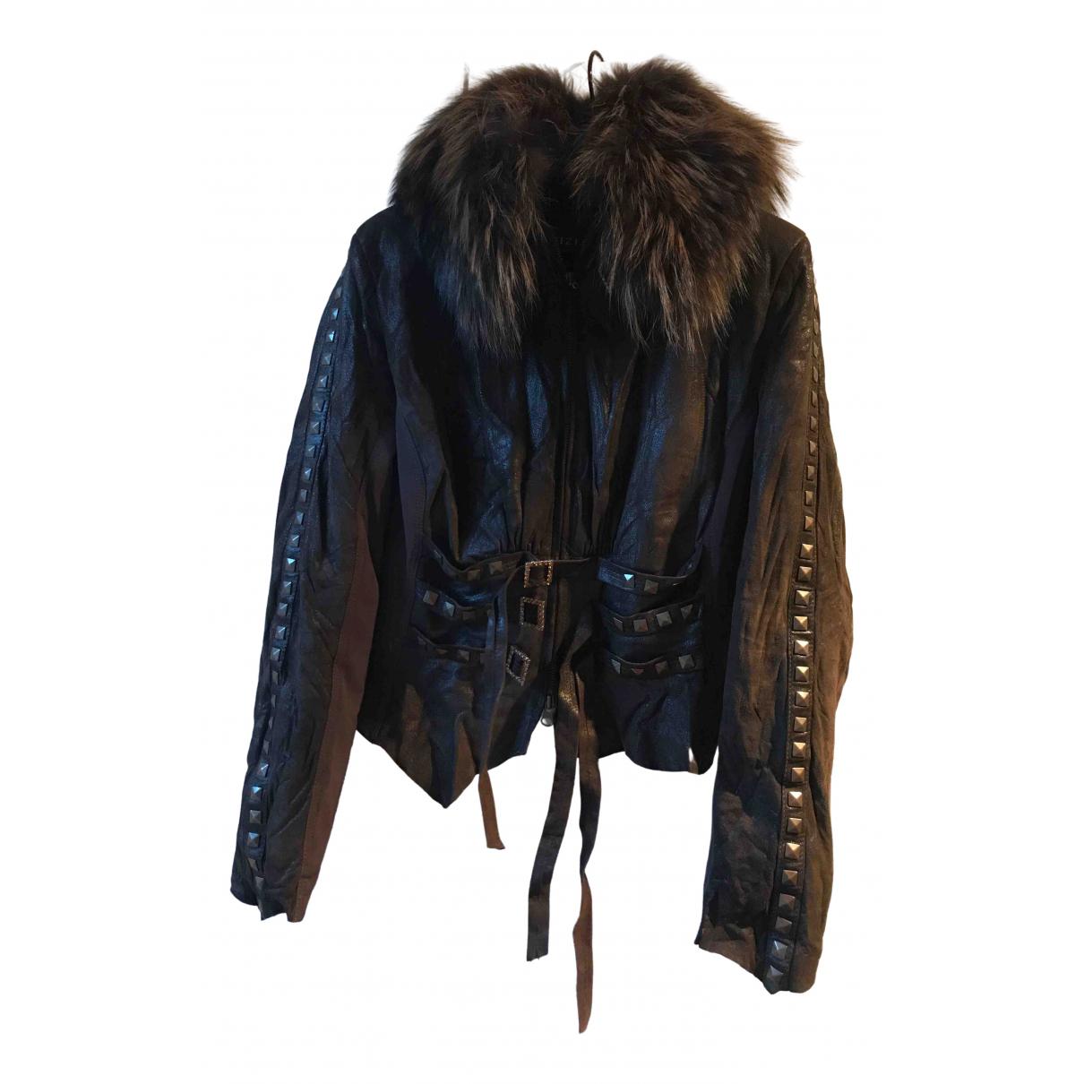 - Veste   pour femme en cuir - bleu