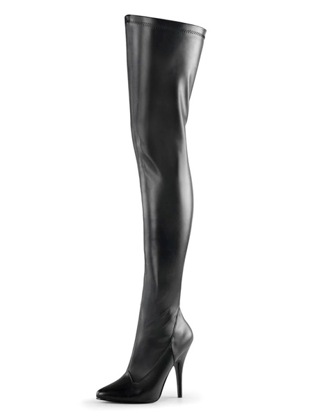 Milanoo Sexy High Heel Boots Pointed Toe Zipper Sequins Stiletto Heel Rave Club White Thigh High Boots