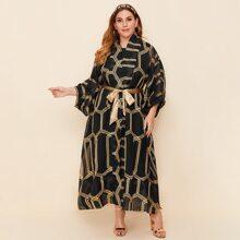 Einfarbiges Tank Kleid & Kimono mit Geo Muster und Guertel