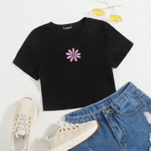 Daisy Embroidered Rib-knit Tee