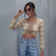 Plaid Drawstring Knot Crop Sweater