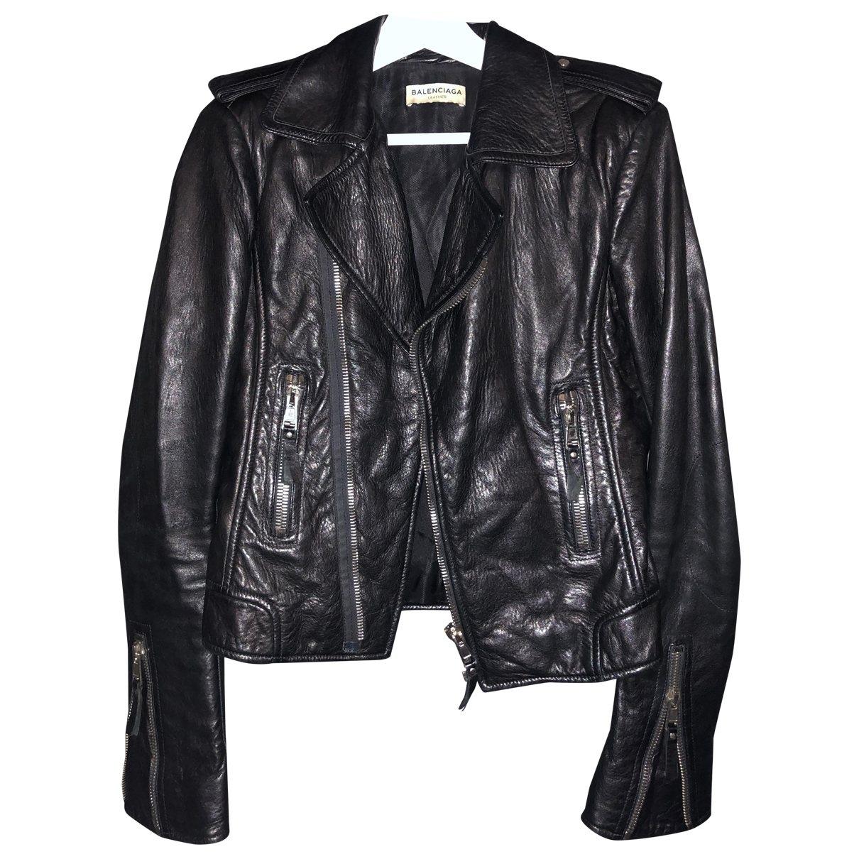 Balenciaga \N Black Leather jacket for Women 42 FR
