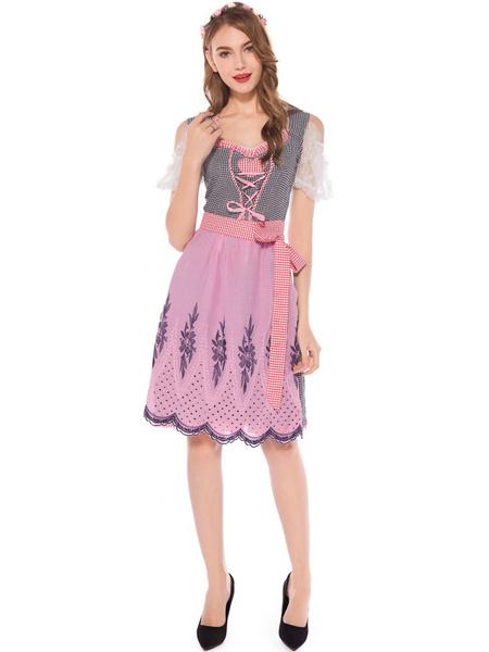 Milanoo Beer Girl Costume Magenta Plaid Lace Up Dress Polyester Oktoberfest Holidays Costumes Oktoberfest Costumes