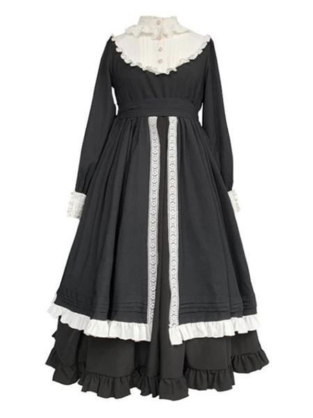 Milanoo Vestido clasico de Lolita OP Boton de encaje con volantes Volantes negros Vestidos de una pieza de Lolita
