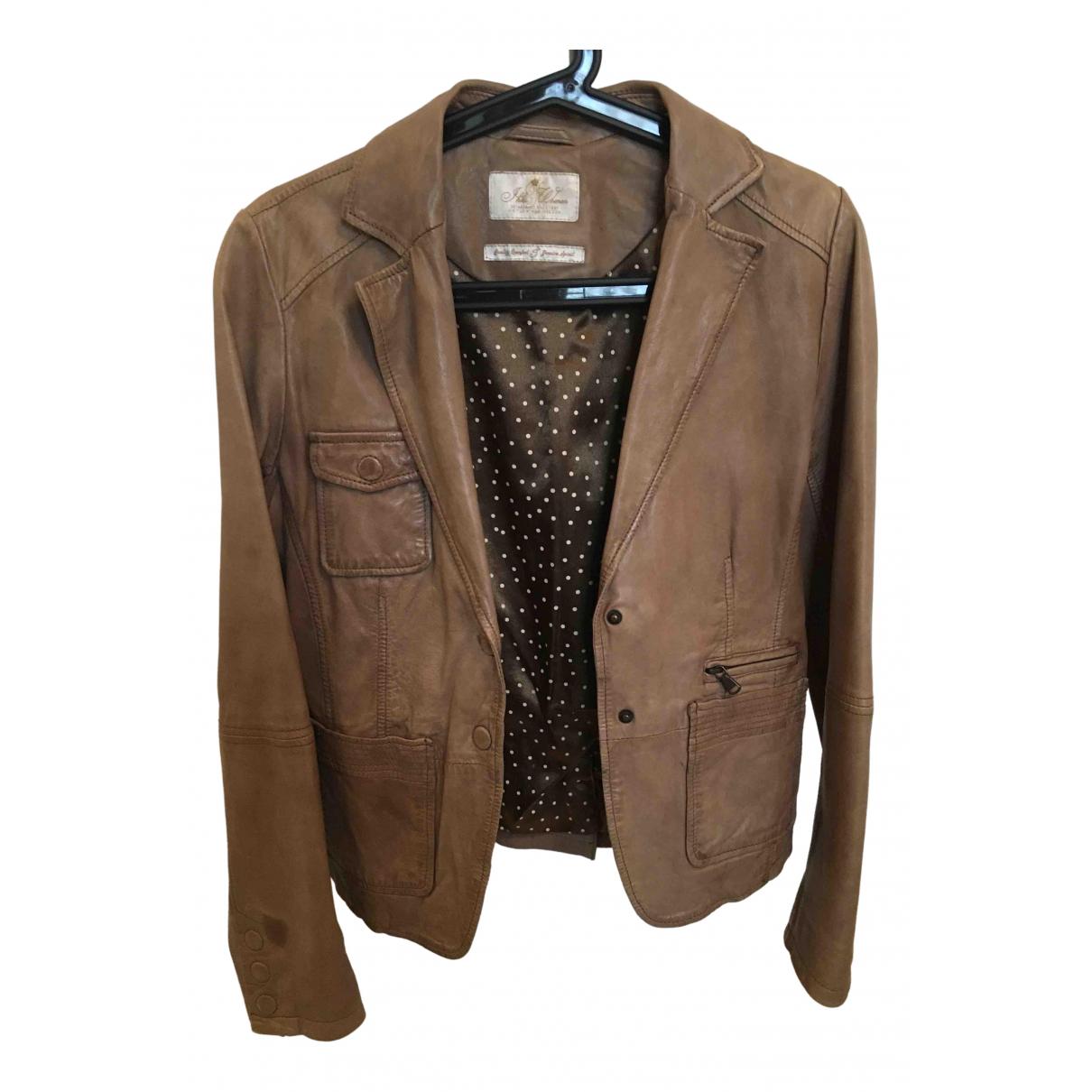Ikks N Beige Leather jacket for Women 38 FR