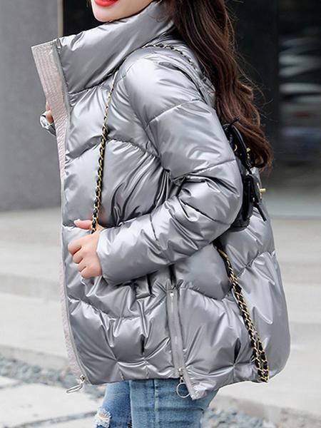 Milanoo Abrigos acolchados para mujer Astilla Cuello alto Cremallera Mangas largas Diseño alto y bajo Prendas de abrigo de invierno