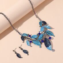 1pc Leaf Charm Necklace & 1pair Earrings