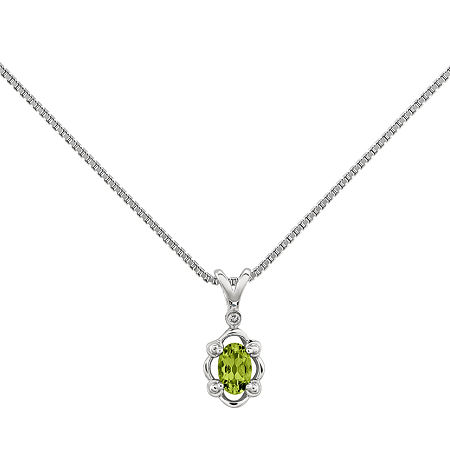 Womens Diamond Accent Genuine Green Peridot Sterling Silver Pendant Necklace, One Size , No Color Family
