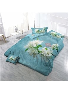 Blossoming Pear Flowers Wear-resistant Breathable High Quality 60s Cotton 4-Piece 3D Bedding Sets
