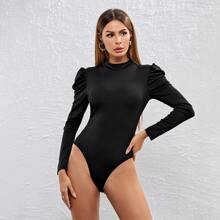 Mock-neck Gigot Sleeve Fitted Bodysuit