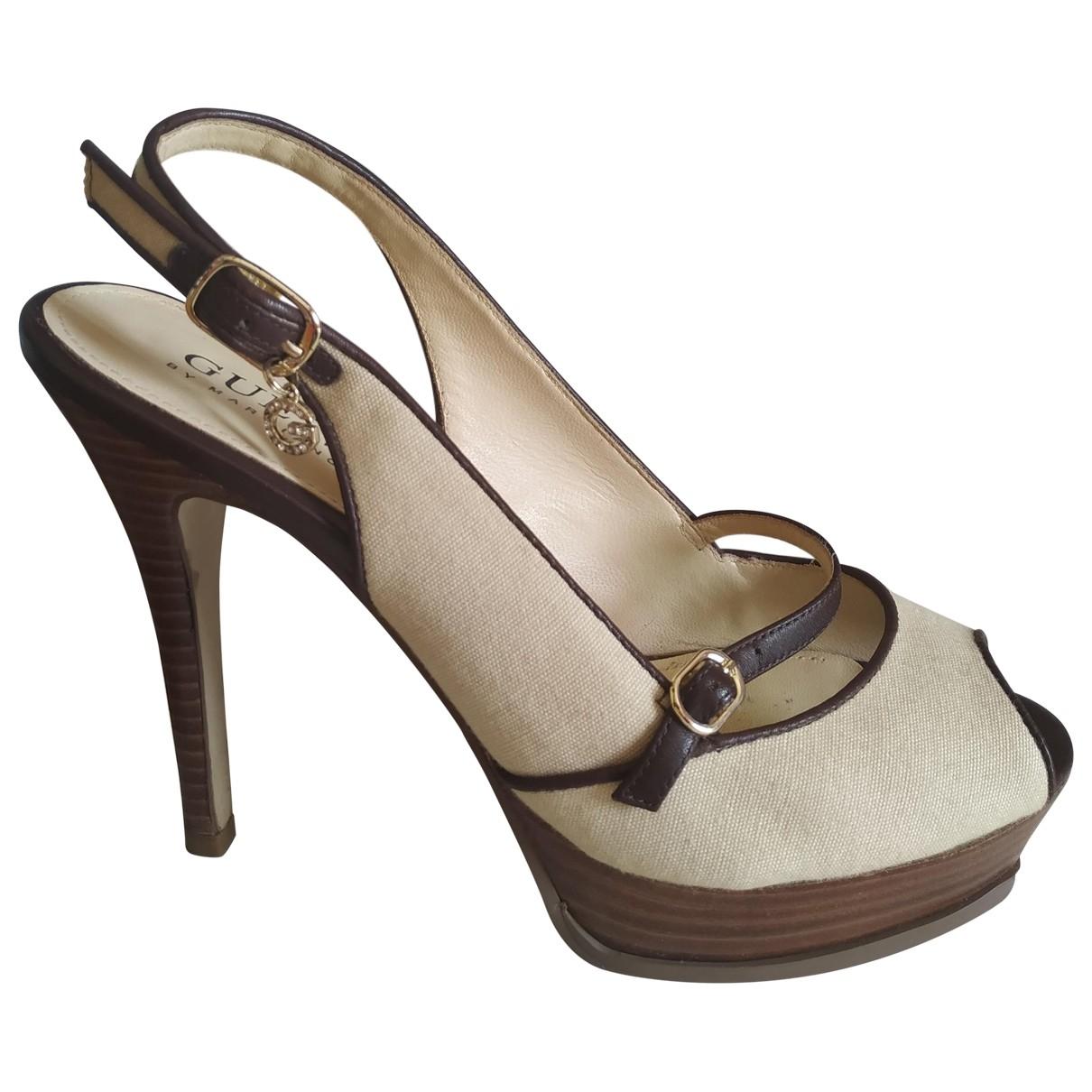 Guess - Sandales   pour femme en toile - beige