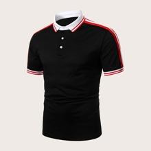 Men Stripe Tape Side Polo Shirt