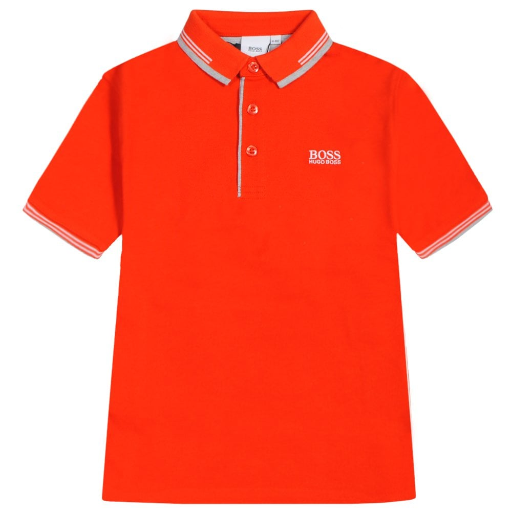 Hugo boss Kids Collar Trim Logo Polo Colour: ORANGE, Size: 6 YEARS
