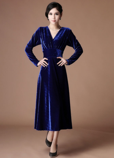 Milanoo A-line Royal Blue Velvet V-Neck Tea-Length Fashion Cocktail Dress  Wedding Guest Dress