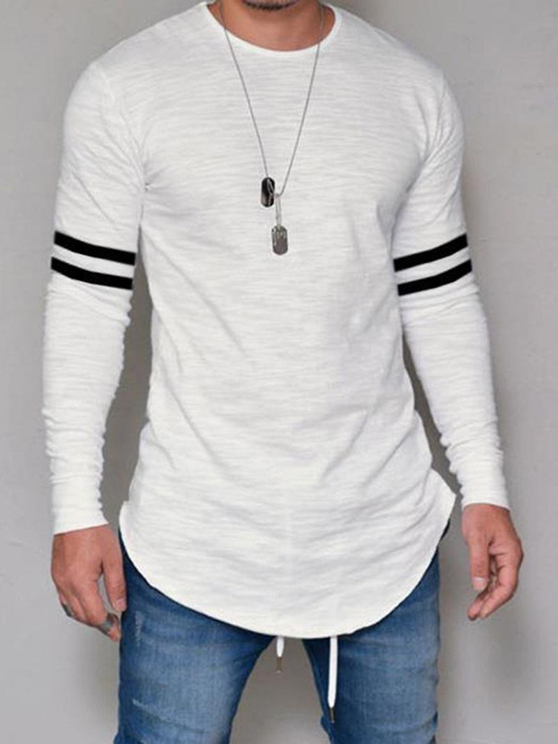 Ericdress Striped Print Mens Casual T-shirt