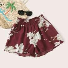 Shorts mit Blumen Muster und breitem Beinschnitt