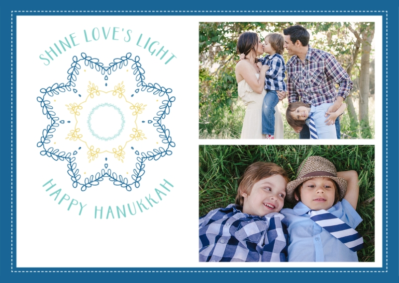 Hanukkah Photo Cards 5x7 Folded Cards, Standard Cardstock 85lb, Card & Stationery -Hanukkah Shine Loves Light