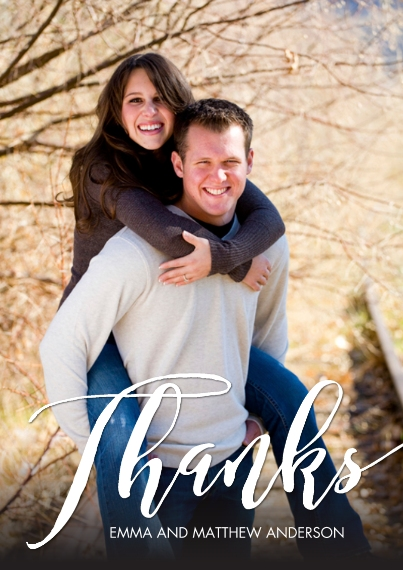 Wedding Thank You Flat Glossy Photo Paper Cards with Envelopes, 5x7, Card & Stationery -Thank You Heartfelt