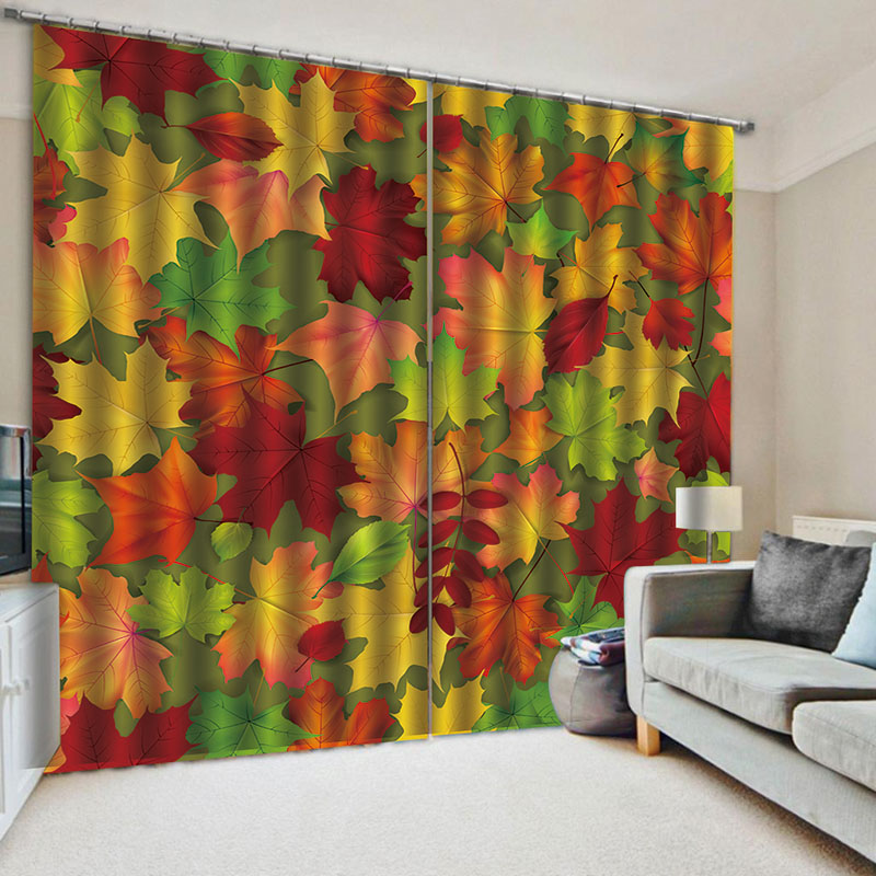 3D Colorful Maple Leaves Blackout Window Curtains for Living Room Bedroom No Pilling No Fading No off-lining Blocks Out 80% of Light and 90% of UV Ray