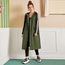 Press Buttoned Striped Sleeve Hooded Coat