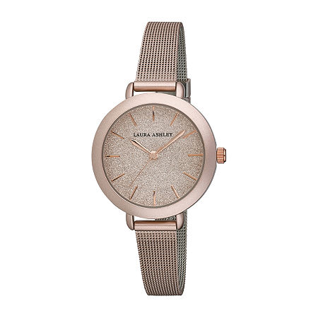 Laura Ashley Womens Stainless Steel Rosegold Mesh Band Watch-LA31069RG, One Size , No Color Family