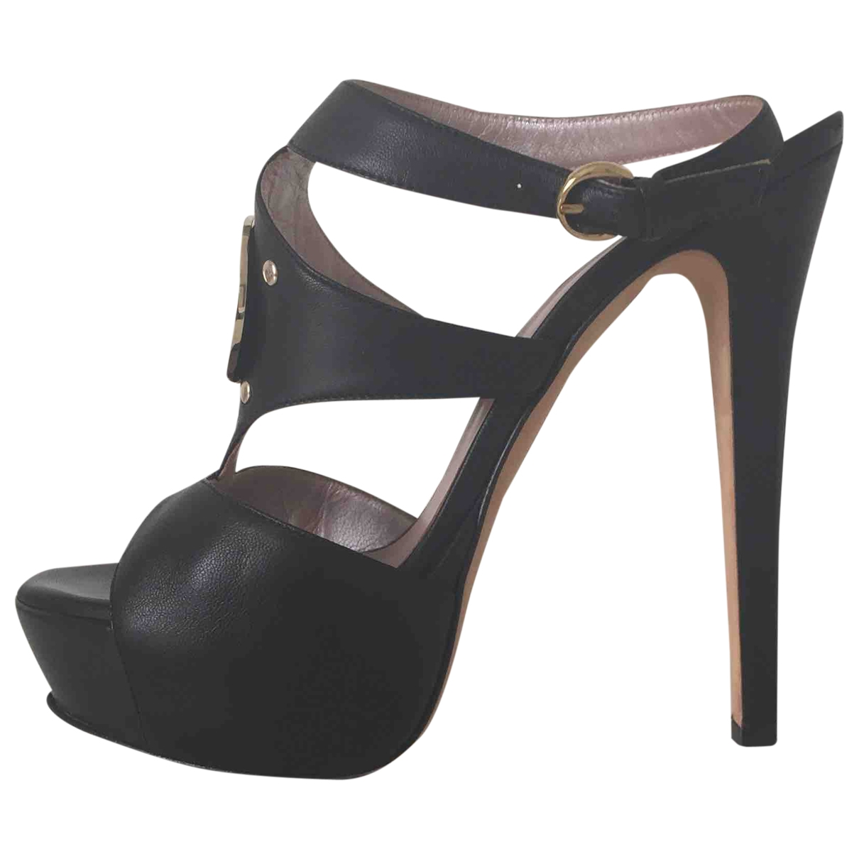 Versace \N Black Leather Sandals for Women 37 IT