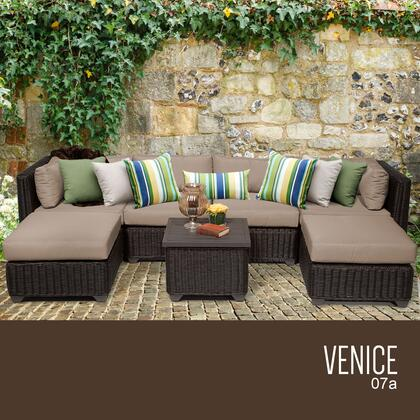 VENICE-07a-WHEAT Venice 7 Piece Outdoor Wicker Patio Furniture Set 07a with 2 Covers: Wheat and