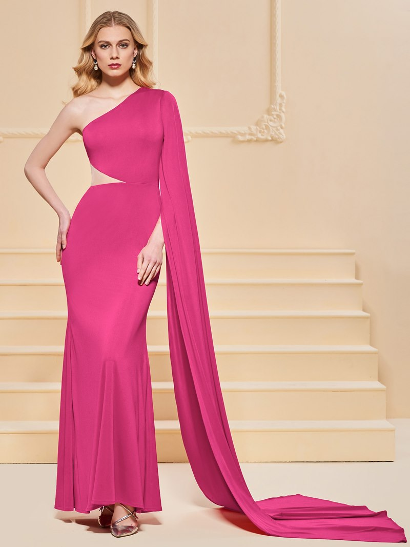 Ericdress Sheath One Shoulder Mermaid Red Evening Dress
