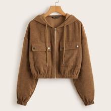 Flap Pocket Front Zip Up Cord Jacket