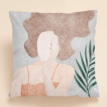 Abstract Girl Print Cushion Cover Without Filler