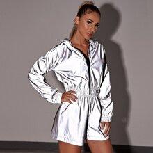 Reflective Zip Up Windbreaker Hooded Jacket & Shorts