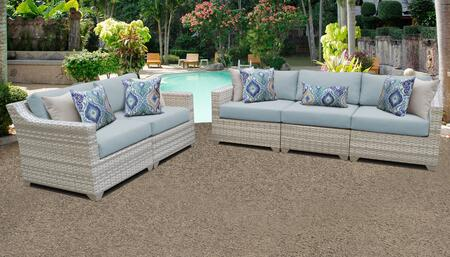 Fairmont Collection FAIRMONT-05a-SPA 5-Piece Patio Set with 2 Left Chairs  3 Right Chairs and 1 Armless Chair - Beige and Spa