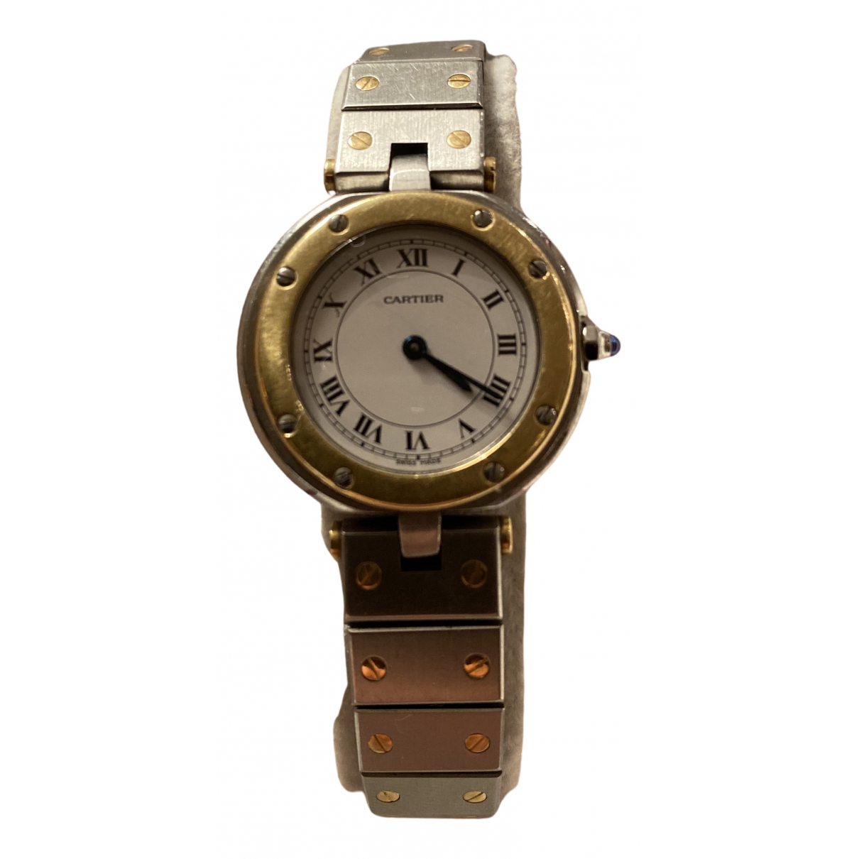 Cartier Santos Ronde Uhr in  Grau Gold und Stahl