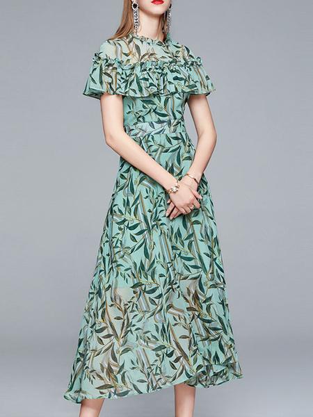Milanoo Vestidos largos Mangas cortas Vestido largo de gasa transparente con estampado floral verde