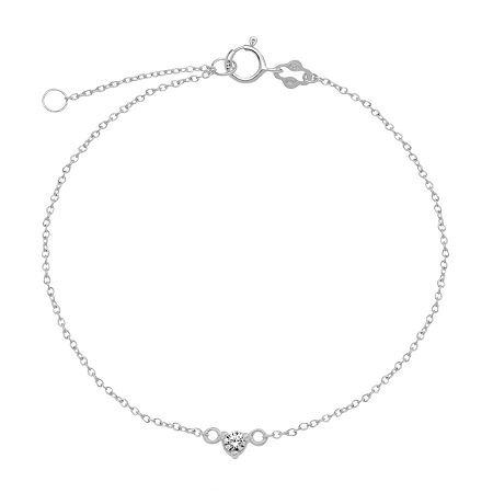 Itsy Bitsy Cubic Zirconia 9 Inch Cable Ankle Bracelet, One Size , No Color Family