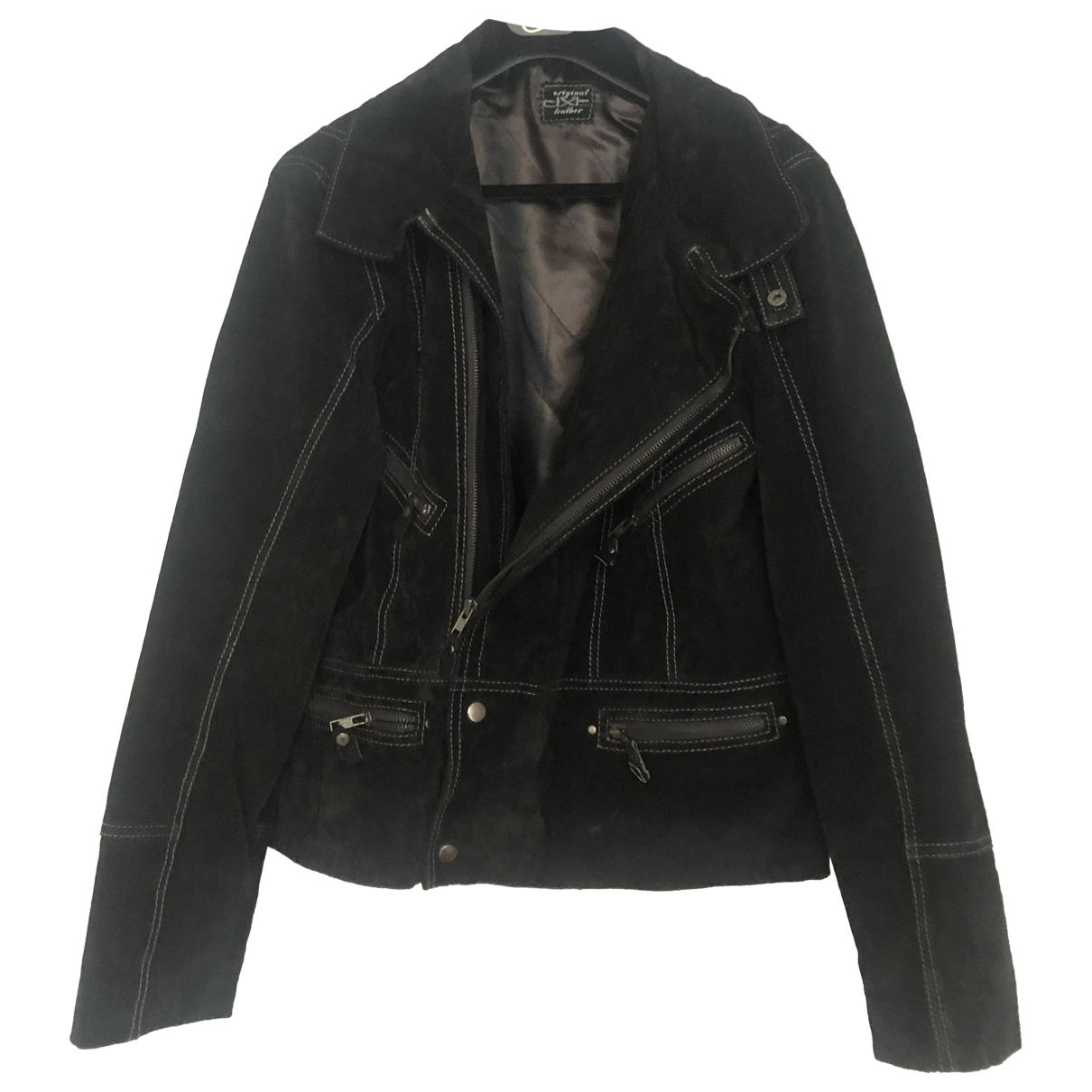 Non Signé / Unsigned \N Black Leather jacket for Women 44 FR