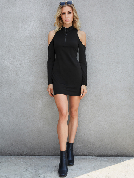 Yoins Black Zip Design Cold Shoulder Long Sleeves Knit Dress