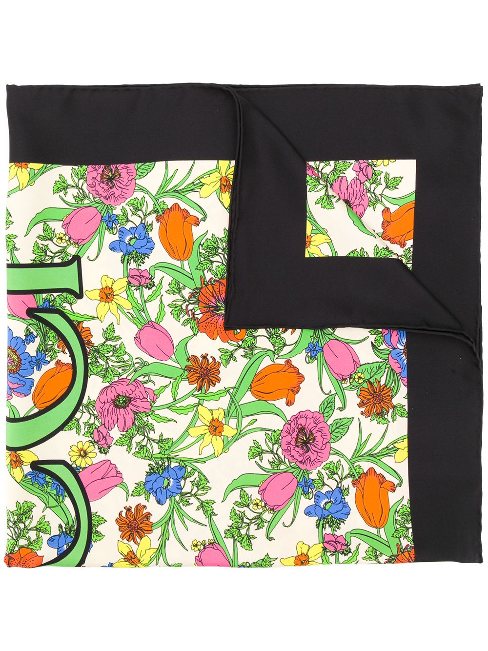 Pop Flora Printed Silk Foulard
