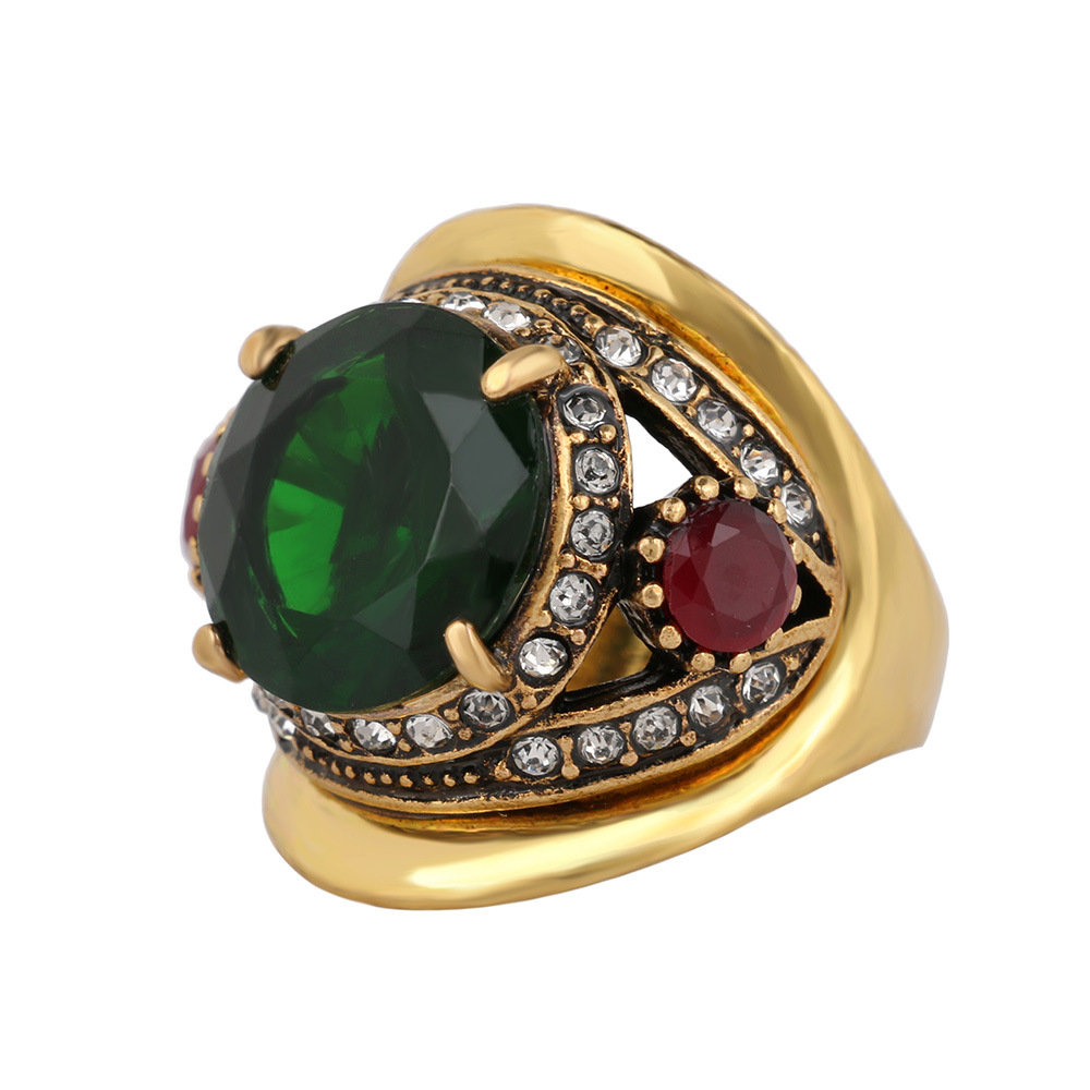 Cool Blue Green Zircon Retro Gold Alloy Crystal Ring for Men Hot Gifts