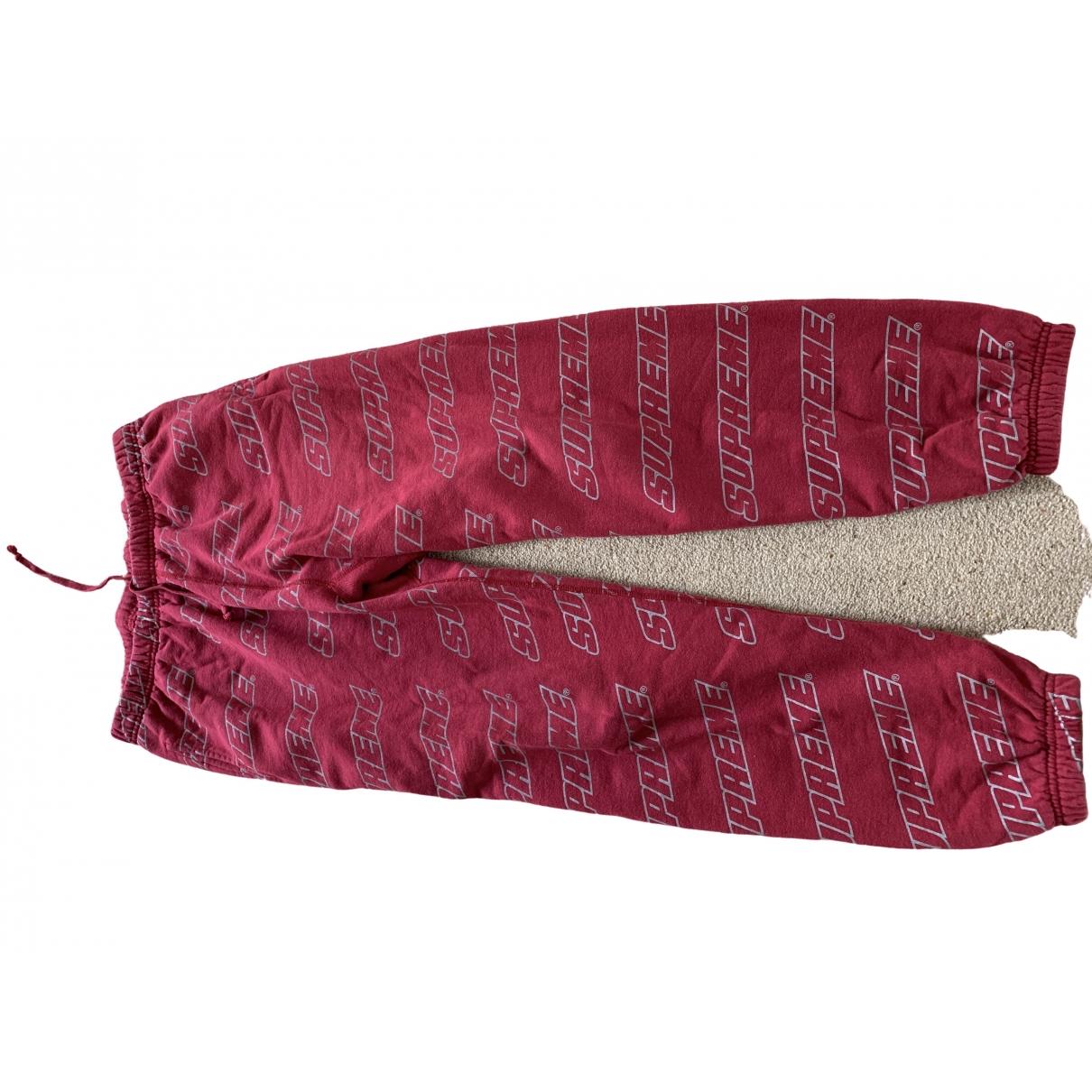 Supreme - Pantalon   pour femme en coton - rouge